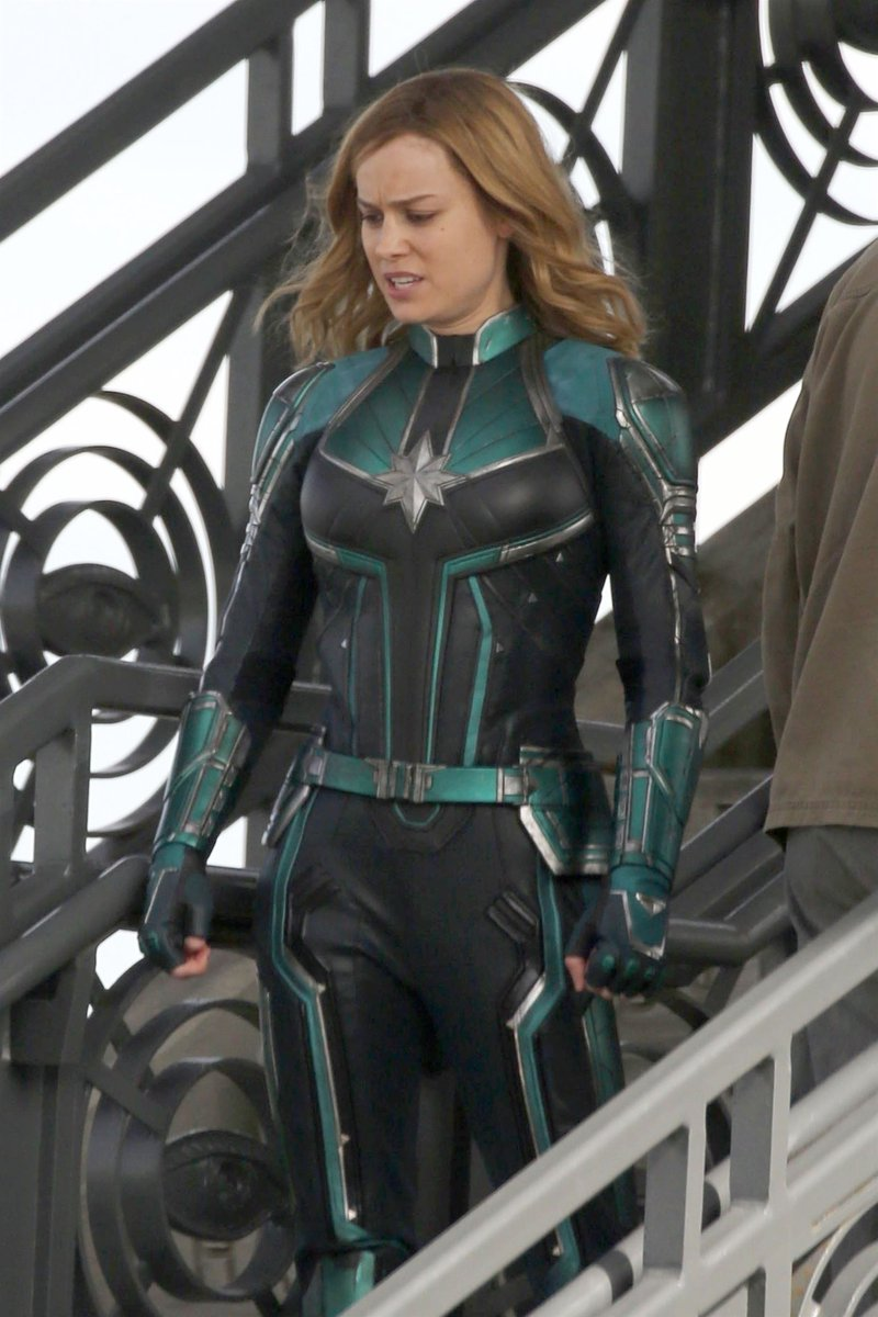 new 'captain marvel' photos of brie larson in the kree suit surface